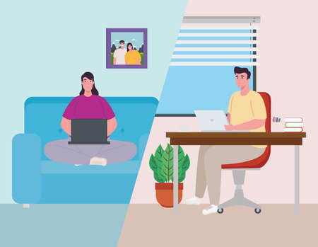 scenes telework, young couple working from home vector illustration design