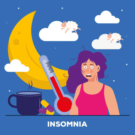 woman with insomnia moon thermometer and coffee mug design, sleep and night theme Vector illustration 向量圖像