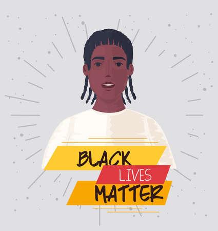 black lives matter, man african, stop racism vector illustration design