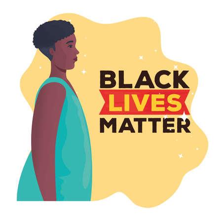 black lives matter, woman african in profile, stop racism concept vector illustration design