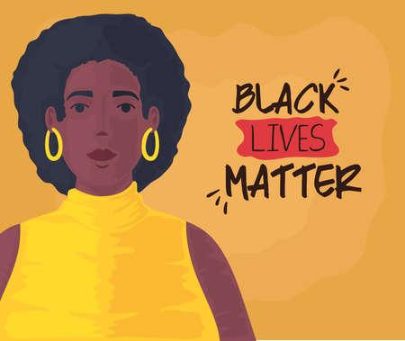 black lives matter, cute woman african, stop racism concept vector illustration design 矢量图像