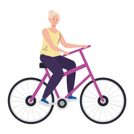 Senior woman cartoon riding bike design, grandmother and old female person theme Vector illustration Vektoros illusztráció