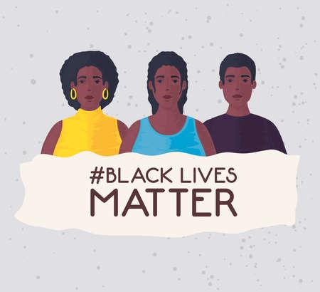 black lives matter, group people african, stop racism vector illustration design 矢量图像