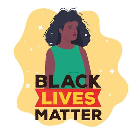 black lives matter, woman african, stop racism concept vector illustration design