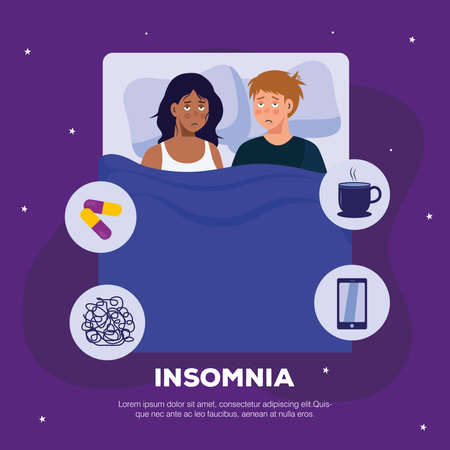 woman and man with insomnia in bed design, sleep and night theme Vector illustration 向量圖像