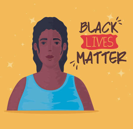 black lives matter, young woman african, stop racism concept vector illustration design