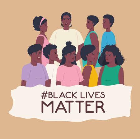 black lives matter, people african together, stop racism vector illustration design