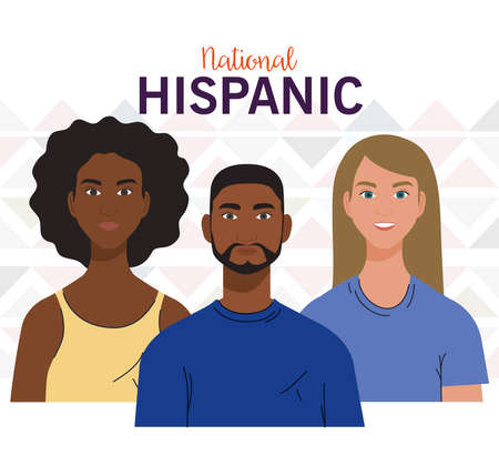 national hispanic heritage month, with people together, diversity and multiculturalism concept vector illustration design