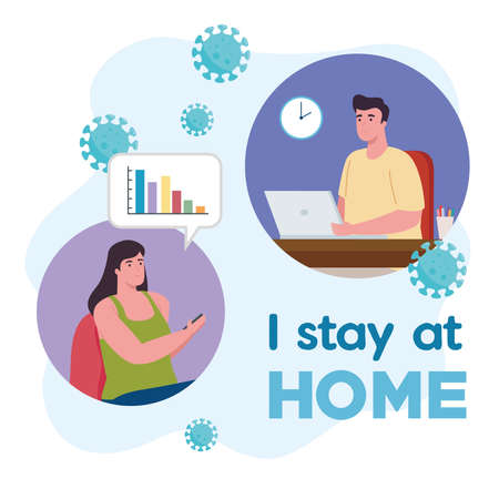 i stay at home, couple working in telework vector illustration design