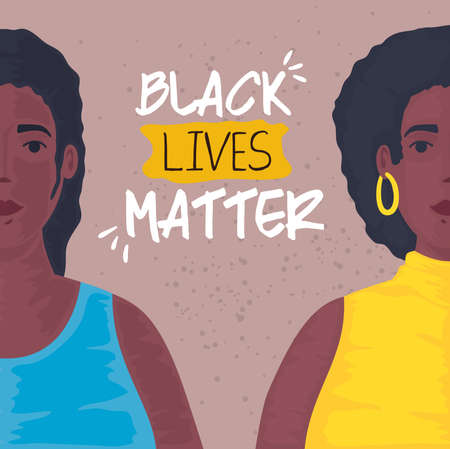 black lives matter, young women african, stop racism vector illustration design