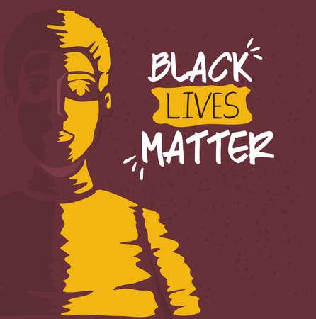 black lives matter, picture of man, stop racism vector illustration design