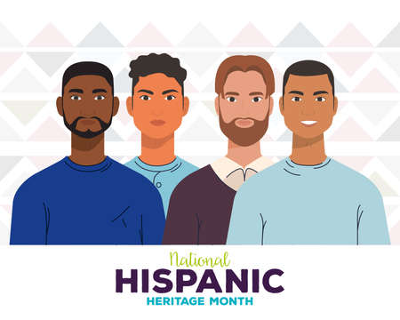 national hispanic heritage month, with group of men, diversity and multiculturalism concept vector illustration design