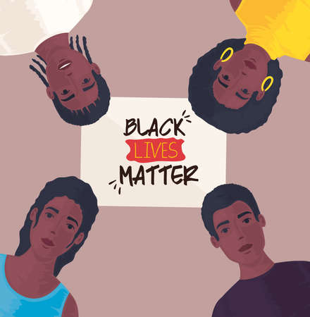 black lives matter, young people african, stop racism vector illustration design 矢量图像
