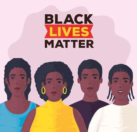 black lives matter, group of people african together, stop racism vector illustration design