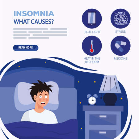 man with insomnia in bed design, sleep and night theme Vector illustration Иллюстрация