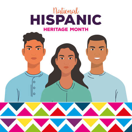 national hispanic heritage month, group of people together, diversity and multiculturalism concept vector illustration design