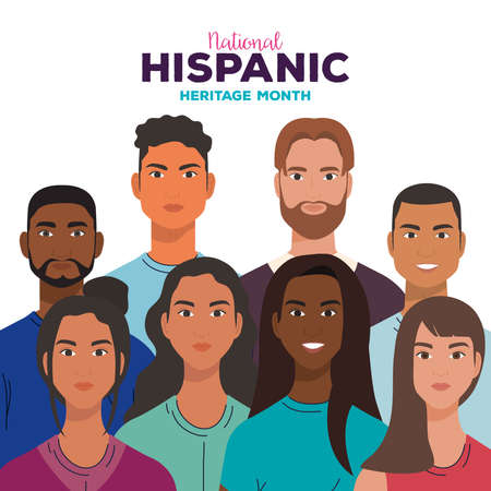 national hispanic heritage month, with women and men together, diversity and multiculturalism concept vector illustration design