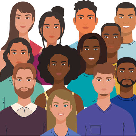 multiethnic group of people together, diversity and multiculturalism concept vector illustration design
