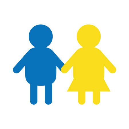 down syndrome children holding hands flat style icon design, disability support and solidarity theme Vector illustration Stock fotó - 155566784