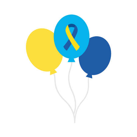 down syndrome ribbon in balloons flat style icon design, disability support and solidarity theme Vector illustration Stock fotó - 155566790
