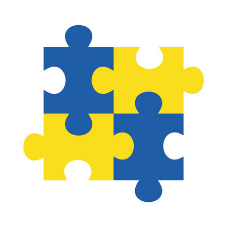 down syndrome puzzles flat style icon design, disability support and solidarity theme Vector illustration Illusztráció