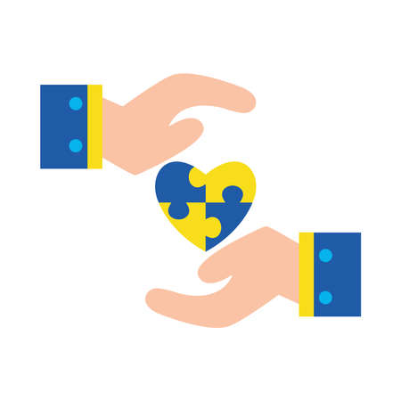 down syndrome puzzles heart between hands flat style icon design, disability support and solidarity theme Vector illustration