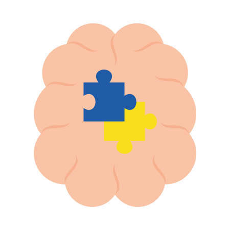 down syndrome puzzles in brain flat style icon design, disability support and solidarity theme Vector illustration