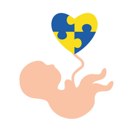 down syndrome baby with puzzles heart flat style icon design, disability support and solidarity theme Vector illustration