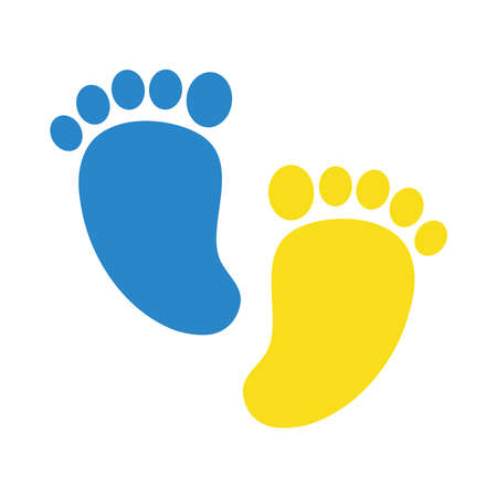 down syndrome footprints flat style icon design, disability support and solidarity theme Vector illustration Stock fotó - 155566807