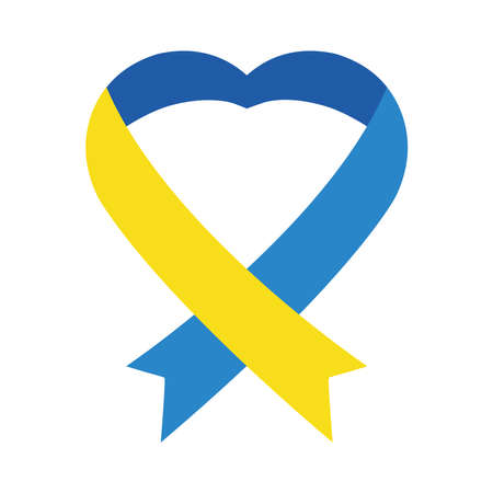 down syndrome heart ribbon flat style icon design, disability support and solidarity theme Vector illustration Illusztráció
