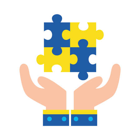 down syndrome puzzles over hands flat style icon design, disability support and solidarity theme Vector illustration