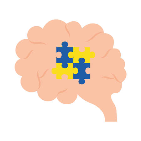 down syndrome puzzles in brain flat style icon design, disability support and solidarity theme Vector illustration Stock fotó - 155566879