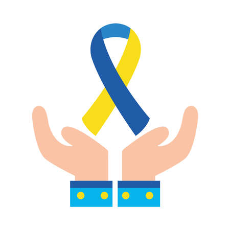 down syndrome ribbon over hands flat style icon design, disability support and solidarity theme Vector illustration Stock fotó - 155566881