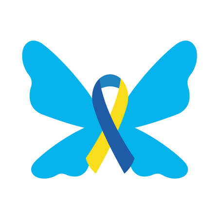 down syndrome ribbon butterfly flat style icon design, disability support and solidarity theme Vector illustration Stock fotó - 155566890