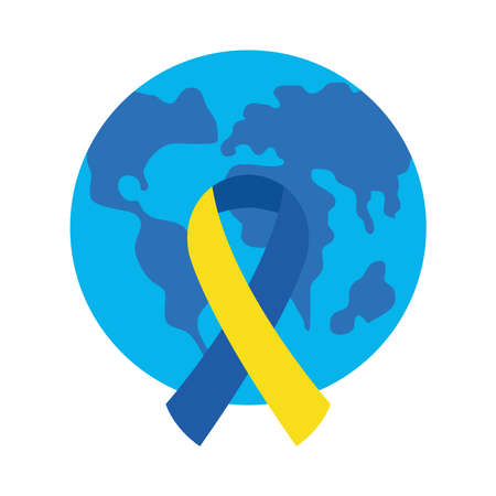 down syndrome ribbon in front of world flat style icon design, disability support and solidarity theme Vector illustration