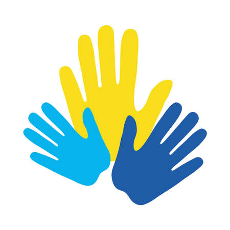 down syndrome hands flat style icon design, disability support and solidarity theme Vector illustration Illusztráció