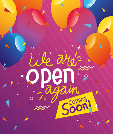 banner of we are open again coming soon with balloons helium vector illustration design