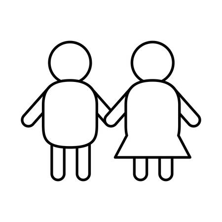 down syndrome children holding hands line style icon design, disability support and solidarity theme Vector illustration