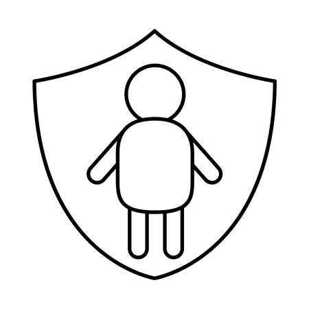 down syndrome man person in shield line style icon design, disability support and solidarity theme Vector illustration Illusztráció