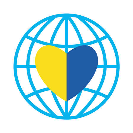 down syndrome heart in global sphere flat style icon design, disability support and solidarity theme Vector illustration Illusztráció