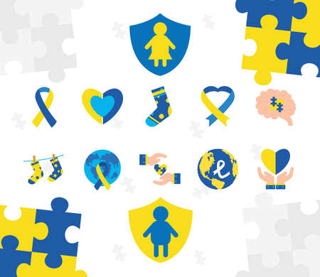 set icons of down sindrome, xxx style icons vector illustration design Stock fotó - 155567386