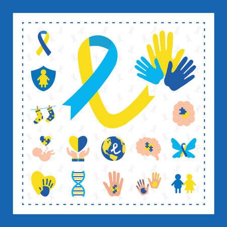 bundle icons of down sindrome, xxx style vector illustration design Illusztráció