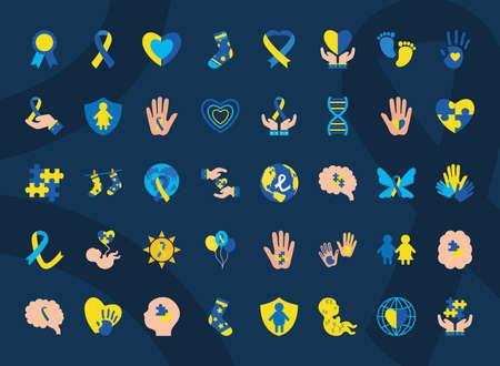 set icons of down sindrome, style xxx vector illustration design Stock fotó - 155567397