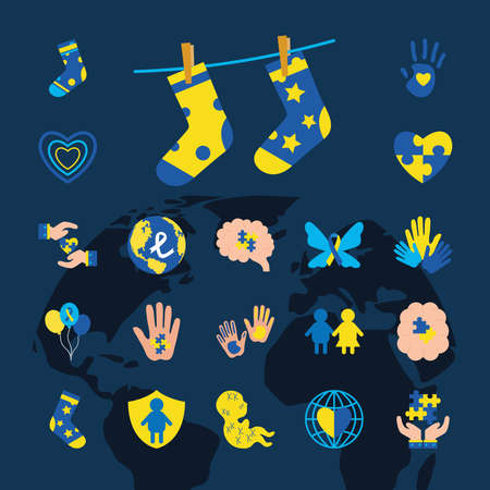 collection icons of down sindrome, xxx style vector illustration design Stock fotó - 155567399