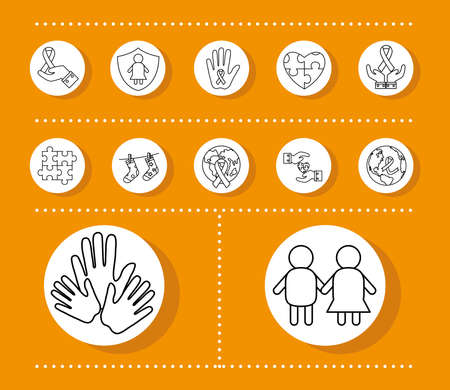 down syndrome line style set of icons design, disability support and solidarity theme Vector illustration Stock fotó - 155567401