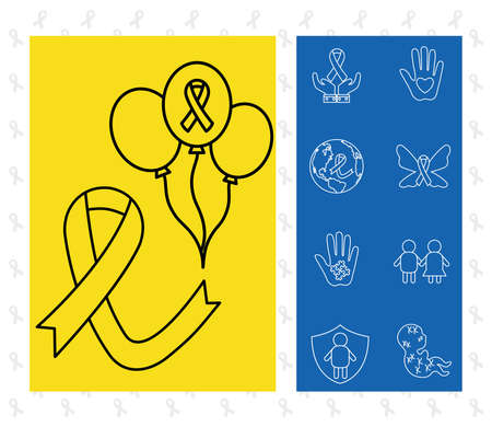 down syndrome line style icon set design, disability support and solidarity theme Vector illustration