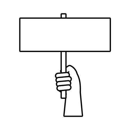 hand human with protest banner line style icon vector illustration design