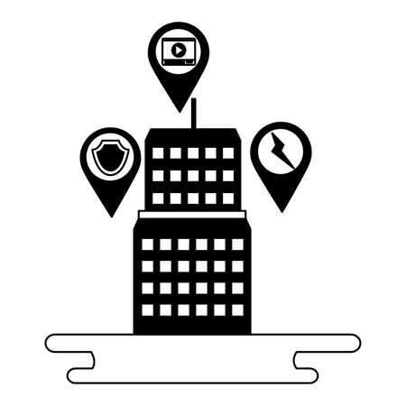smart city building technology wireless vector illustration