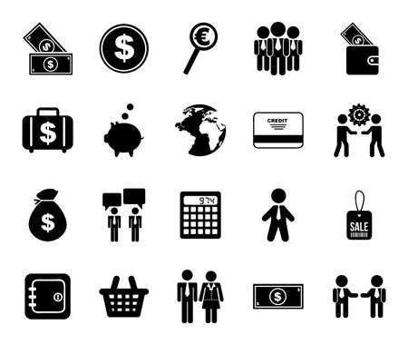 work and business icon set design, management workforce financial corporate investment and occupation theme Vector illustration