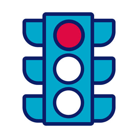 traffic light line and fill style icon vector illustration design
